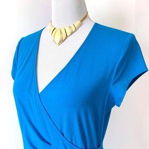 Cache Dresses - Cache Faux Wrap Jersey Aqua Dress Sz L